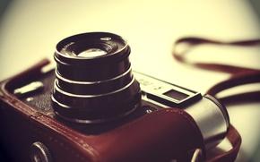 Картинка фон, размытость, фотоаппарат, объектив, чехол, советский, однообъективный, ФЭД-5