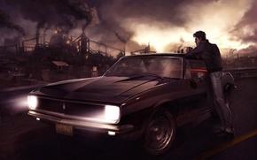 Картинка ночь, город, сигарета, мужчина, автомобиль, Арт, смог