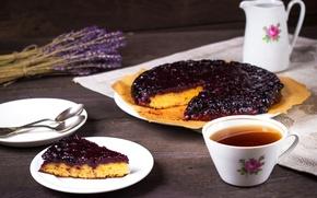 Обои смородиновый, чай, выпечка, лаванда, пирог