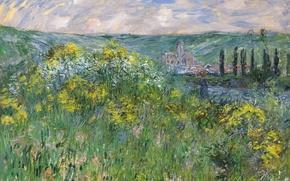 Картинка природа, картина, Клод Моне, Пейзаж возле Ветёй