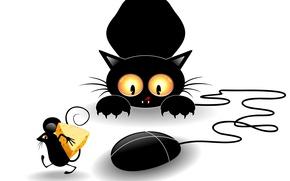 Картинка кот, взгляд, черный, вектор, лапы, сыр, мышка, когти