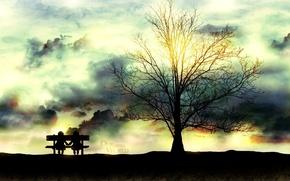 Картинка небо, солнце, деревья, любовь, скамейка, парк, рисунок, лавочка, дружба, пара, картинка, сквер, влюблённость, обои. изображение