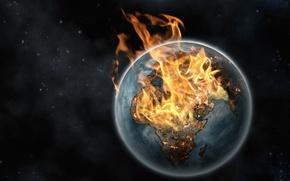 Картинка огонь, земля, планета, звёзды