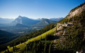 Картинка деревья, горы, река, долина, склон, Канада, панорама, леса, Банф
