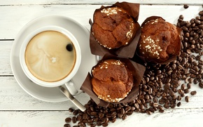 Картинка кофе, cup, cupcake, кексы, beans, coffee, breakfast