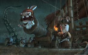 Обои юмор, Воробей, Кролики, Пираты