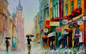 Картинка дождь, масло, картина, вывески