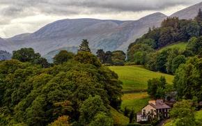 Обои поля, Англия, дом, горы, деревья