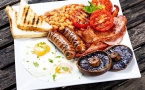 Картинка грибы, хлеб, мясо, яичница, помидоры, бекон, mushrooms, tomatoes, egg, meat, фасоль, sausage, bacon