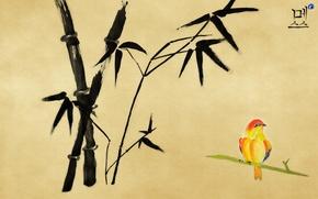 Обои рисунок, бамбук, птичка, иероглиф
