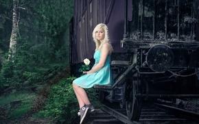 Картинка цветок, вагон, девочка