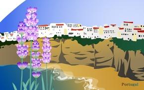 Картинка море, цветы, город, путешествия, скалы, Португалия, туризм, страна, Portugal, государство