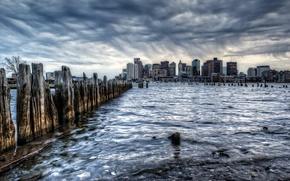 Картинка город, дождь, Бостон