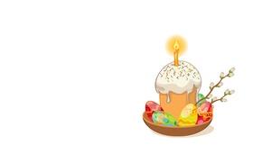 Картинка фон, праздник, арт, Пасха, кулич, верба, Easter, крашенки