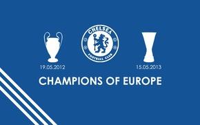 Картинка wallpaper, football, England, Chelsea FC, champions of Europe
