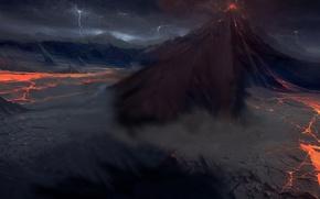 Обои Вулкан, молнии, лава