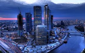 Обои небоскребы, мосты, дома, Россия, вечер, Москва, река, закат