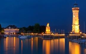 Картинка ночь, огни, маяк, Германия, Бавария, гавань, Линдау, Баварский лев