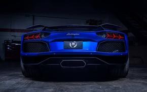 Картинка Lamborghini, Blue, Matte, LP700-4, Aventador, Supercar, Spoiler, Rear, Xclusv Autosports
