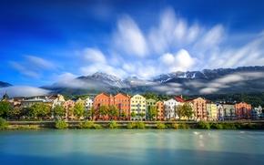 Картинка облака, горы, озеро, дома, Австрия, Инсбрук