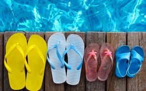 Картинка accessories, vacation, отдых, beach, пляж, каникулы, summer, лето, сланцы, бассейн