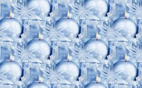 Картинка фон, праздник, подарок, свеча, текстура, Новый год, мишура