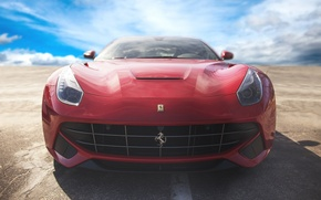 Картинка Красная, Феррари, Ferrari, Суперкар, Берлинетта, Ф12, Berlinetta, F12, Передок
