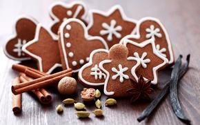 Обои праздник, печенье, сладости, орешки, cookies, macaroon