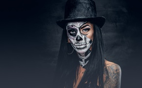 Обои look, day of the dead, female, makeup, woman