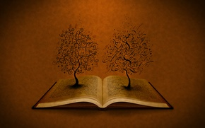 Обои буквы, деревья, книга