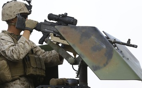 Картинка оружие, армия, солдат, пулемёт