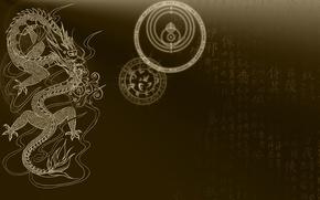 Картинка круги, фон, фантастика, дракон, мистика, символы, знаки, иероглифы, фэнтэзи
