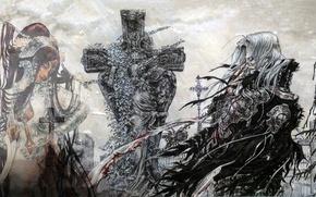 Картинка туман, крест, призрак, кладбище, надгробие, лохмотья, Кровь Триединства, Lilith Sahl, Trinity blood, Abel Nightroad, густой …