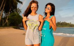 Картинка пляж, радость, девушки, радуга, MAVRIN