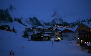 Картинка winter, mountains, village