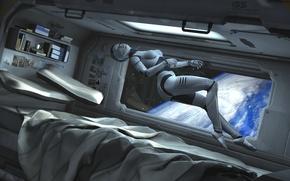 Картинка космос, фантастика, земля, робот, постель, гравитация, киборг, spaceship, каюта