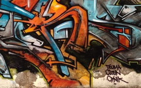 Картинка абстракция, стена, граффити, рисунок, multi monitors