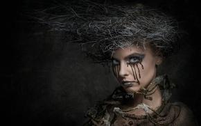 Картинка креатив, портрет, макияж, причёска