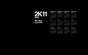 Обои 2к11, месяца, календарь, чёрный, фон, дни, 2011