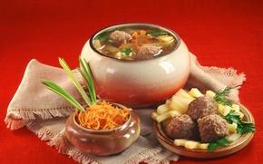 Картинка укроп, горшочек, картошечка, русская кухня, фрикадельки, морковка, скатерть, суп, лук