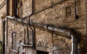 Обои стена, дом, труба