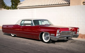 Картинка ретро, Cadillac, классика, Coupe, передок, 1968, DeVille