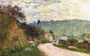 Картинка пейзаж, картина, Клод Моне, Дорога в Ветей
