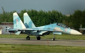 Картинка истребитель, аэродром, взлёт, Су-27