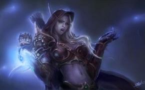 Картинка магия, эльф, доспехи, слезы, WoW, World of Warcraft, стрелы, Lady Sylvanas Windrunner