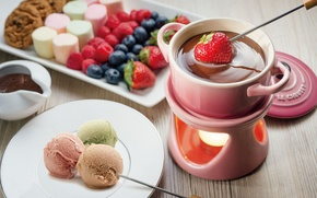 Обои мороженое, fruit, шоколадное фондю, десерт, chocolate fondue, dessert, печенье, ice cream, фрукты, еда, cookies, marshmallow