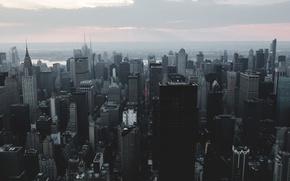 Обои Manhattan, River, Empire, City, New-York, Building, Sunset, Smoke, State