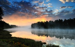 Картинка лес, пейзаж, закат, река, Природа
