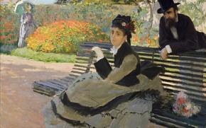 Картинка картина, Клод Моне, жанровая, Камилла Моне на Садовой Скамейке