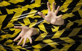 Картинка black, yellow, hands, stuck, plastic ink